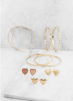 Set of 6 Assorted Stud and Hoop Earrings - 3122072699746