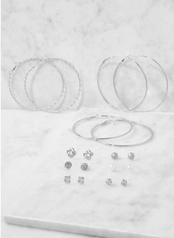 Assorted Set of Hoop and Stud Earrings - 3122072699749
