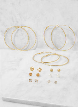Assorted Set of Hoop and Stud Earrings - 3122072699749
