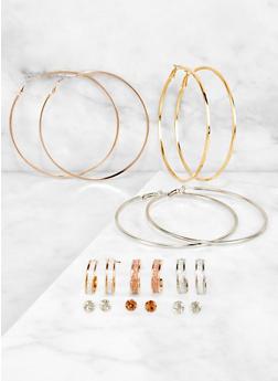 9 Assorted Glitter Hoop and Stud Earrings - 3122072699885