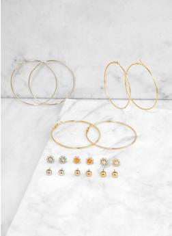 Metallic Hoop Trio and Stud Earrings - 3122073840345