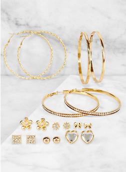 Hoop and Square Rhinestone Stud Earrings Set - 3122073840347
