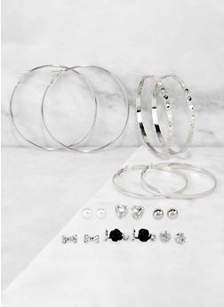 9 Assorted Hoop and Rose Stud Earrings - 3122073840527