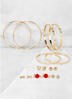 9 Assorted Hoop and Rose Stud Earrings - 3122073840527
