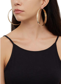 Metallic Large Hoop Earring Trio - 3122073840636