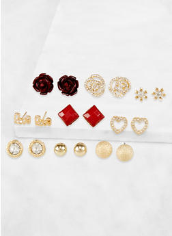 Assorted Set of 9 Rose Stud Earrings - 3122073840776