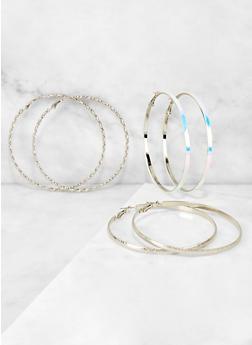 Metallic and Iridescent Hoop Earring Trio - 3122073840841