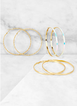 Metallic and Iridescent Hoop Earring Trio - 3122073840841
