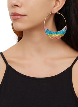 Rhinestone Studded Crescent Hoop Earrings - 3122073841019