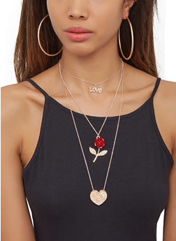 Rose Love Charm Necklace with Hoop Earring Trio - 3122073841796