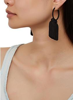 Thread Wrapped Tassel Hoop Earrings - Black - 3122073842411