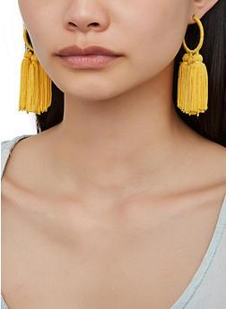 Thread Wrapped Tassel Hoop Earrings - 3122073842411