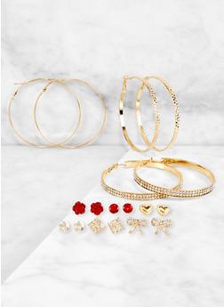 9 Assorted Rhinestone Hoop and Stud Earrings Set - 3122073842706