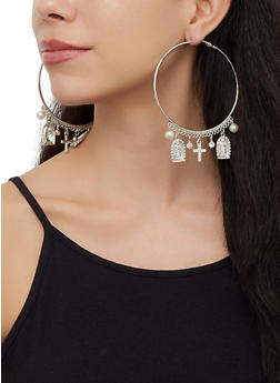 Religious Charm Hoop Earrings - 3122073842707