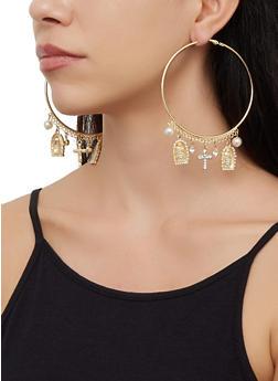 Religious Charm Hoop Earrings - 3122073842707