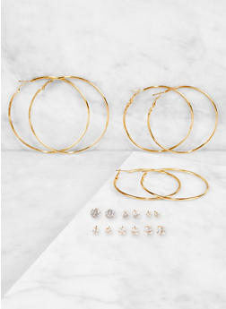 Rhinestone Stud and Hoop Earrings Set | 3122073842792 - 3122073842792