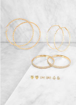 Assorted Stud and Twist Hoop Earrings - 3122073843116