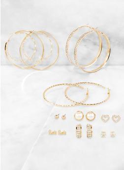 Metallic Rhinestone Hoop and Stud Earrings Set - 3122073843210