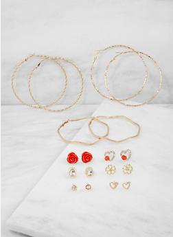 Assorted Set of 9 Stud and Hoop Earrings - 3122073843359