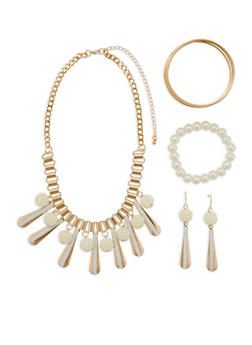 Metallic Faux Pearl Charm Necklace with Bracelets and Earrings - 3122073846201