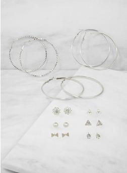 Set of 9 Rhinestone Stud and Hoop Earrings - 3122073848226