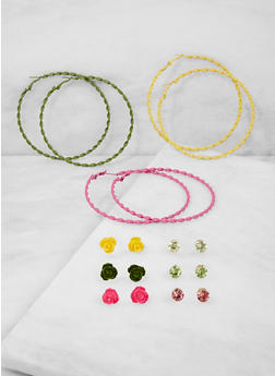 Set of 9 Painted Stud and Hoop Earrings - 3122073848814