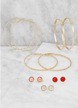Disc Stud and Hoop Earrings Set - 3122073848816