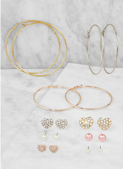 Tri Tone Stud and Hoop Earrings Set - 3122073849031