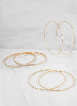 Oversized Metallic Hoop Earrings - 3122073849033