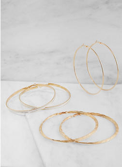 Oversized Glitter Hoop Earrings Trio - 3122073849036