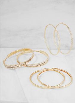 Oversized Rhinestone Hoop Earrings - 3122073849037