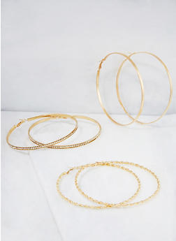 Jumbo Hoop Earring Trio - 3122073849039
