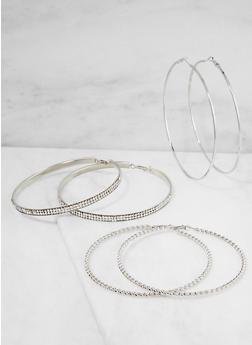 Set of 3 Jumbo Rhinestone Hoop Earrings - 3122073849040