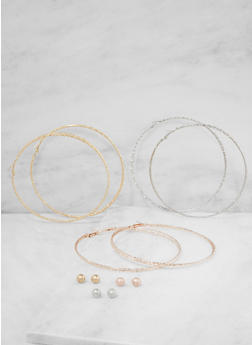Oversized Tri Tone Hoop and Stud Earrings Set - 3122073849041