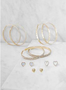 Set of Assorted Hoop and Stud Earrings - 3122073849719
