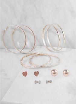 Trio of Rhinestone Hoop and Stud Earrings - 3122073849722