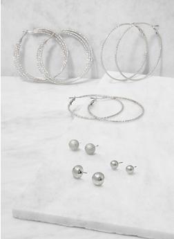 Textured Metallic Stud and Hoop Earrings Set - 3122074141011