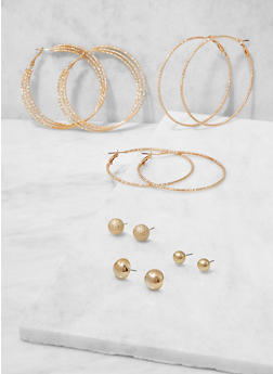 Textured Metallic Stud and Hoop Earrings Set - 3122074141011
