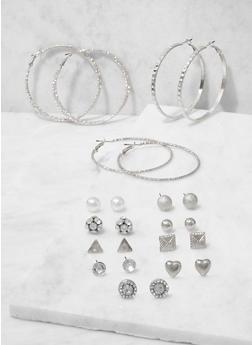 Assorted Rhinestone Stud and Hoop Earrings Set - 3122074141102