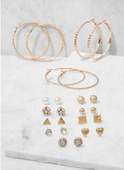 Assorted Rhinestone Stud and Hoop Earrings Set - 3122074141102