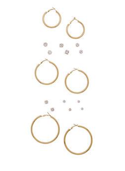 Set of 9 Assorted Stud and Hoop Earrings - 3122074141124
