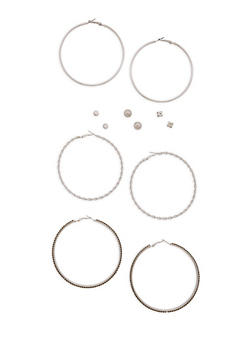 Assorted Set of Hoop and Stud Earrings - 3122074141125