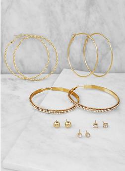 Assorted Set of Hoop and Stud Earrings - 3122074141125