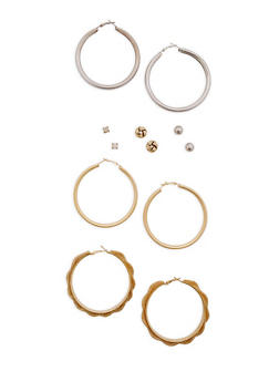 Assorted Hoop and Stud Earrings Set - 3122074141128