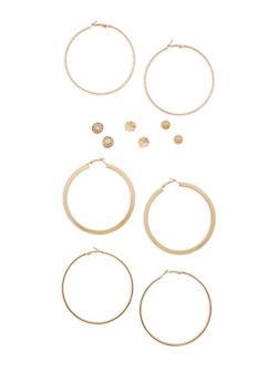 Assorted Hoop and Stud Earrings Set - 3122074141130