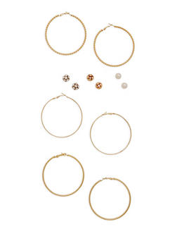 Set of 6 Assorted Stud and Hoop Earrings Set - 3122074141137