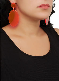 Neon Plastic Oval Earrings - 3122074141157