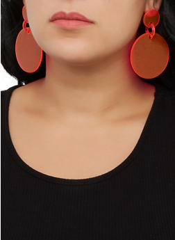Plastic Circle Drop Earrings - 3122074141158