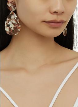 Marbled Plastic Tear Drop Earrings - 3122074141617