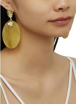 Plastic Oval Drop Earrings - 3122074141618